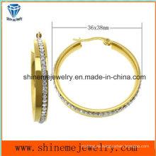 Shineme Joyas de acero inoxidable joyas de chapado oro pendiente (ERS6895)