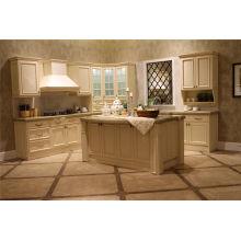 Porta de madeira da cozinha dos armários de cozinha com Countertop