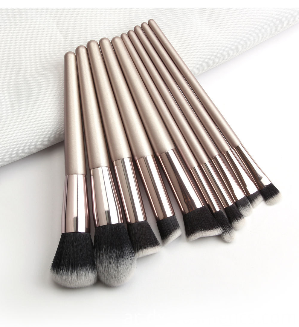 10 Piece Champagne Gold Makeup Brushes black