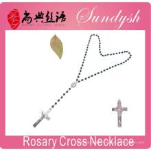 Collar de joyas cruzadas Joyería católica Cuentas de ágata negra Collar de rosario Joyería