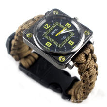 Outdoor Survival Bracelet Watch, Men Women Emergency Survival Watch with Whistle Fire Starter Compass