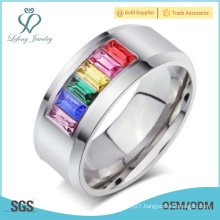Romantic rainbow gay couple wedding rings,lesbian symbols couple love band rings jewelry