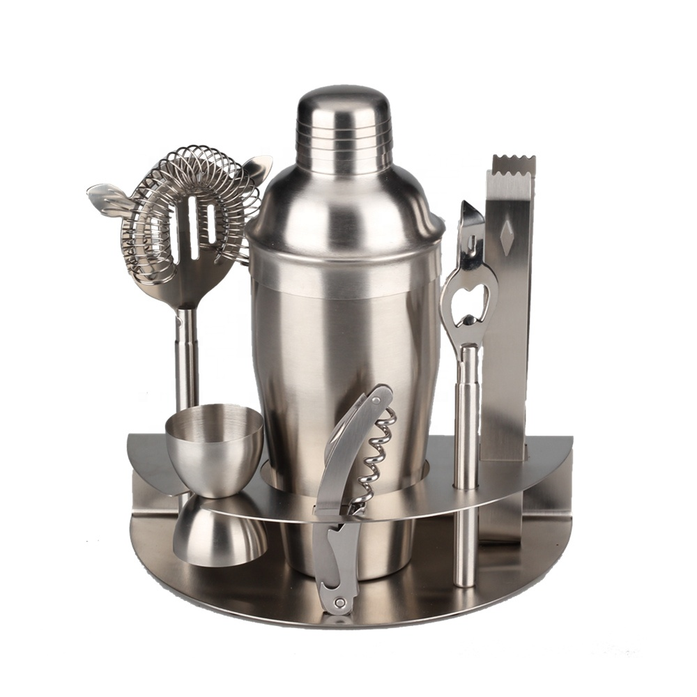 Seven Piece Stainless Steel Cocktail Shaker Set
