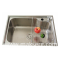 Stainless steel sink in home kitchen