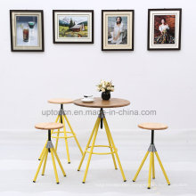 Round Wooden Top Restaurant Table and Chair with Metal Leg (SP-CT777)