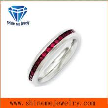 Shineme Schmucksache-Edelstahl-voller Kreis-roter Zircon-Ring