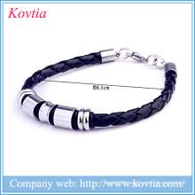 Titanium bracelet for men black leather bracelets 316l stainless steel jewelry