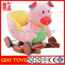Nuevo diseño lindo regalo rosa cerdo felpa mecedora con ruedas