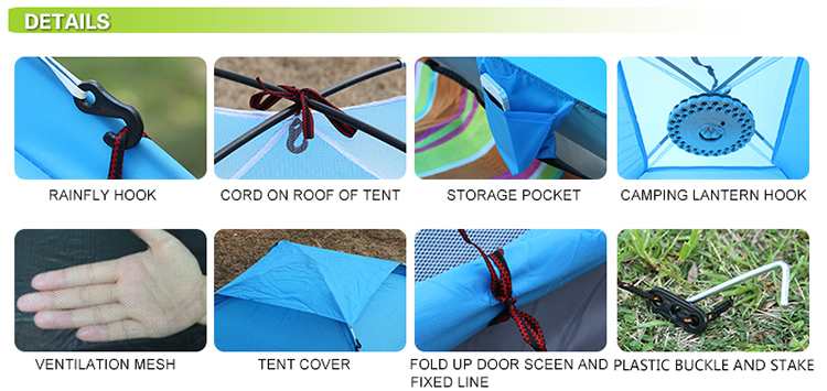 4 person pu coated waterproof taffeta tent detail