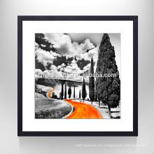 Impresión del arte de la pared del paisaje del camino anaranjado / ilustraciones de la lona del marco / decoración casera Nuevos productos