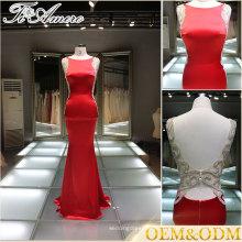 Modest Vestido de noche rojo sin espalda Celebrity Dress