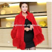 Lady nuevo diseño de alta calidad de piel de conejo abrigo y chaqueta invierno otoño moda borlas capas