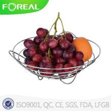 Европе дизайн металла хромированная корзина с фруктами