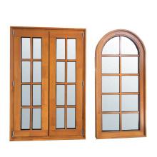 Фиксированное деревянное окно во французском стиле с деревянной решеткой, выполненной из тикового дерева