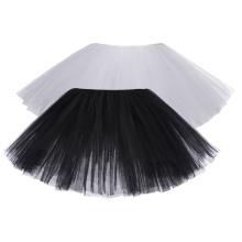 "Kate Kasin Sexy Women's 10"" 6-Layers Black and White Tulle Netting Tutu Skirt KK000310"