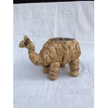 Maceta decorativa camel tejido de algas