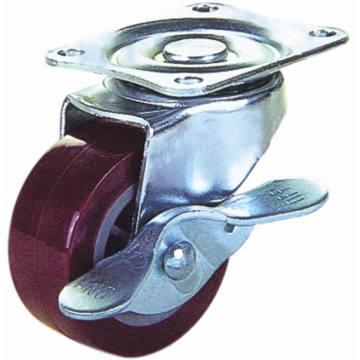 PU pivotante avec roulette de fourrage de frein (rouge)