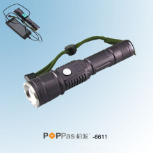 Clássico escondido USB Design CREE Xm-L T6 USB Power Banco Lanterna Poppas-6611