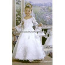 Meilleur vêtement de demoiselle à manches longues en perles à la robe à la robe à la mode Robes fille à fleurs sur mesure CWFaf3915