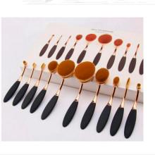 OEM Logo Package Toothbrush Maquiagem Escova Ferramentas Set 10PCS Oval