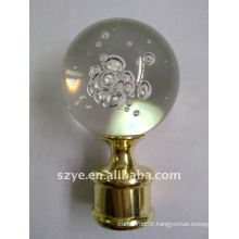 Art glass ball curtain pole finials with bubble