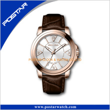 Famous Brand Ladies Men′s Rose Gold China Products Wrist Watch with Leather Strap