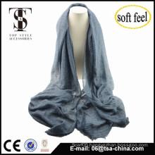 2015 fashionable soft blend Imitation italian style plain color scarf with matellic