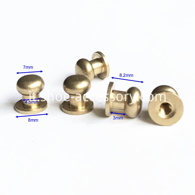 Solid Brass Leather Studs Buttons Cap Rivets 7x8x8.2mm