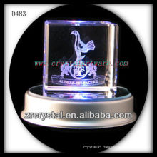 3d laser engraving crystal cube with led base