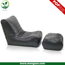 Classical PU leather beanbag recliner lounger, Living room bean bag sofa lounger with foot stool