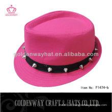 Chapeau fedora pour les filles belle avec motif rivet nouveau design pour la fête