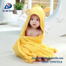new 2015 super soft pink rabbit design cotton terry kids hooded poncho towel/bath towel