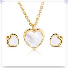 Joyas de perlas joyas de moda joyería de acero inoxidable conjunto (js0206)