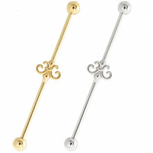14k Gold Industrial Barbell with Fleur-de-Lis Charm