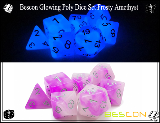 Bescon Glowing Poly Dice Set Frosty Amethyst-9