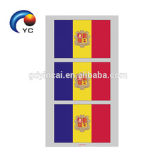 Yincai drapeaux nationaux en forme de coeur autocollant de tatouage visage temporaire de haute qualité