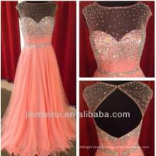 itter Sparkles Peach Color Sheer Neck Beaded Nude Back Open Back Long Prom Dresses 2014 Women