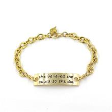 Regalo de oro 14k plateado joyas de moda pulsera personalizada