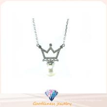 Frauen-Art- und Weiseschmucksachen AAA CZ u. Perle 925 silberne Halskette (N6630)