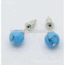 Boucle d'oreille en pierres précieuses turquoise de 6MM