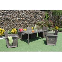 Ensemble de salle à manger Patio Garden Poly Rattan 6 pièces