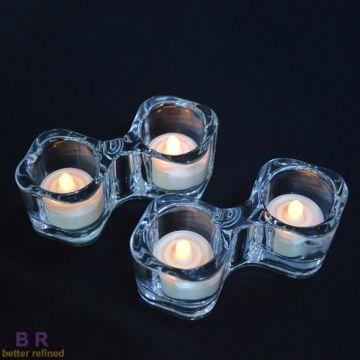 Porta Tealight in vetro Twins