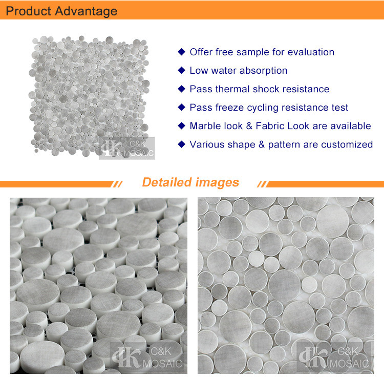 Grey Bubble Fabric Printing Glass Mosaic Tile (2)