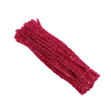 Factory direct sale 30cm*6mm colored diy tinsel chenille stem/metallic pipe cleaner chenille stem for art