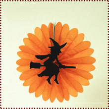 Bruja decorada de papel de Halloween abanico