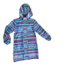 Lady′s bande colorée à capuchon Long Sleeve PU imperméable