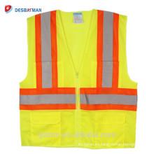 2018 Newly ANSI High Visibility Chaleco de seguridad amarillo reflectante Hi Vis Chaqueta Work Wear Chaleco de seguridad con bolsillos Outdoor