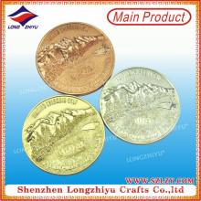 3D Mountain Rose Gold Special Die Casting monedas de aleación de zinc