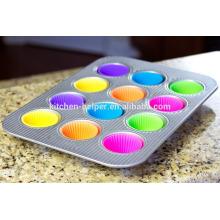 BPA libre de calor resistente a la humedad antiadherente pastel muffin tazas platos Liners conjuntos de moldes, silicona hornear Muffin Cup