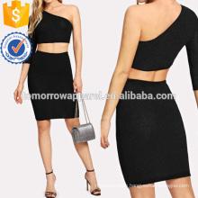 One Shoulder Crop Glitter Top & Skirt Manufacture Wholesale Fashion Women Apparel (TA4106SS)